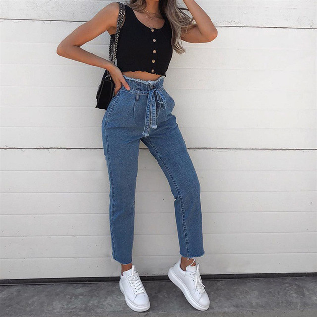 2a244aed63c12 Women Hight Waisted Loose Bow Bandage Hole Denim Jeans Stretch Pants Jean  Pantalones Vaqueros Mujer Women Jeans Pants Tmallfs 5