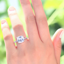 Peacock Star Solid 925 Sterling Silver Wedding Promise Engagement Ring 5 Carat Cushion Cut Created Diamond Jewelry CFR8092