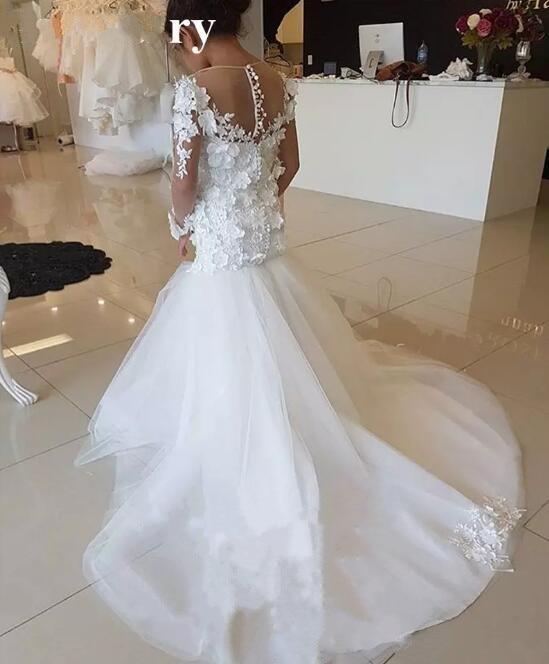 Princess White Lace Mermaid Flower Girls Dresses For Weddings Long Sleeves 3D-Floral Cheap Girls Dresses