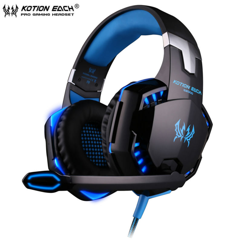 KOTION EACH G2000 Wired Gaming Headphone Earphone Gamer Headset Stereo Sound with Microphone LED Audio Cable for Desktop/PC Game mvpower stereo gaming headset super bass wired headphone with microphone for sony playstation 4 for ps4 for ps3 game earphone