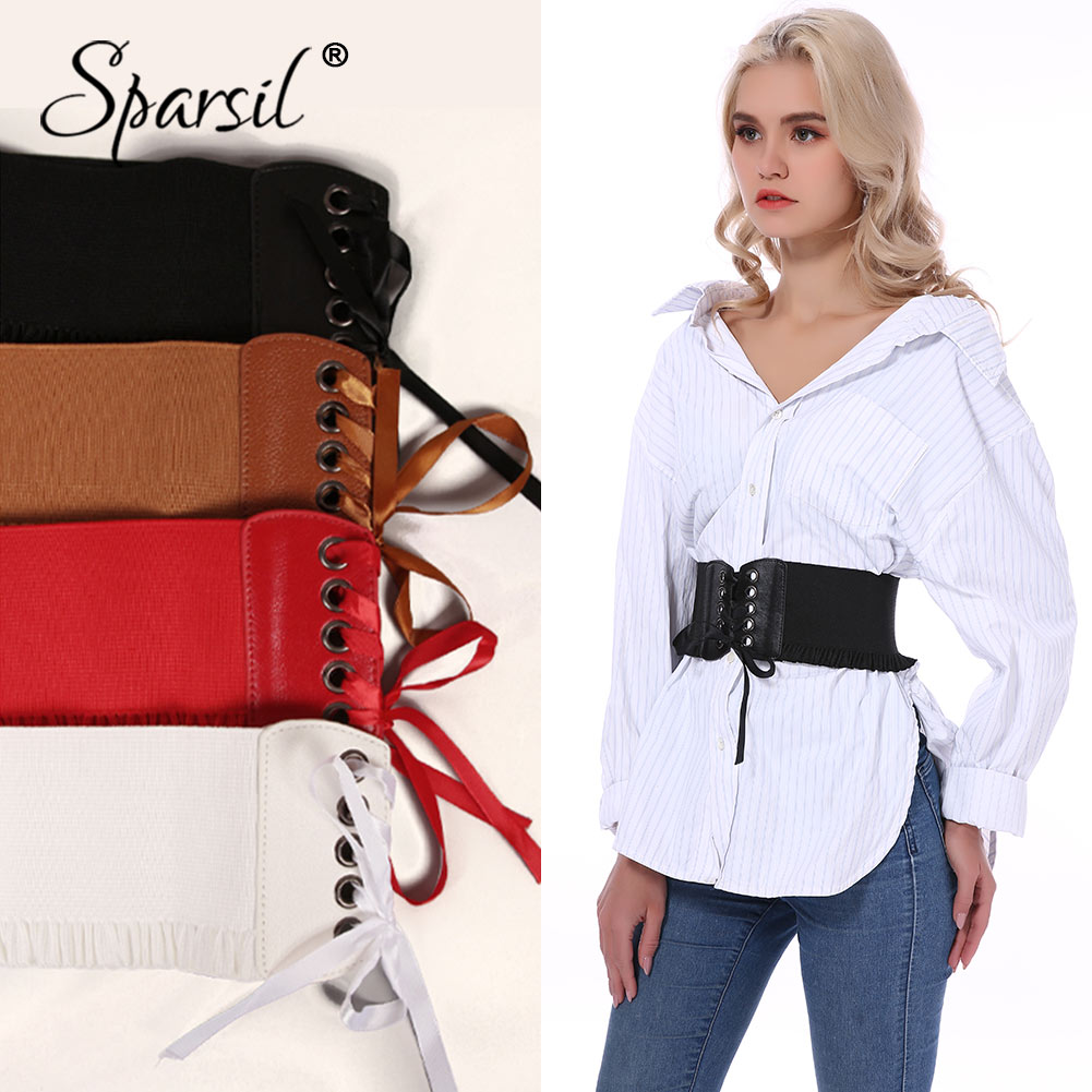 Spasril Women Slimming Wide WaistBand Elastic Corset Cummerbunds Lace Bow Belt Adjust Drawstrings PU Leather Waist Belts Female