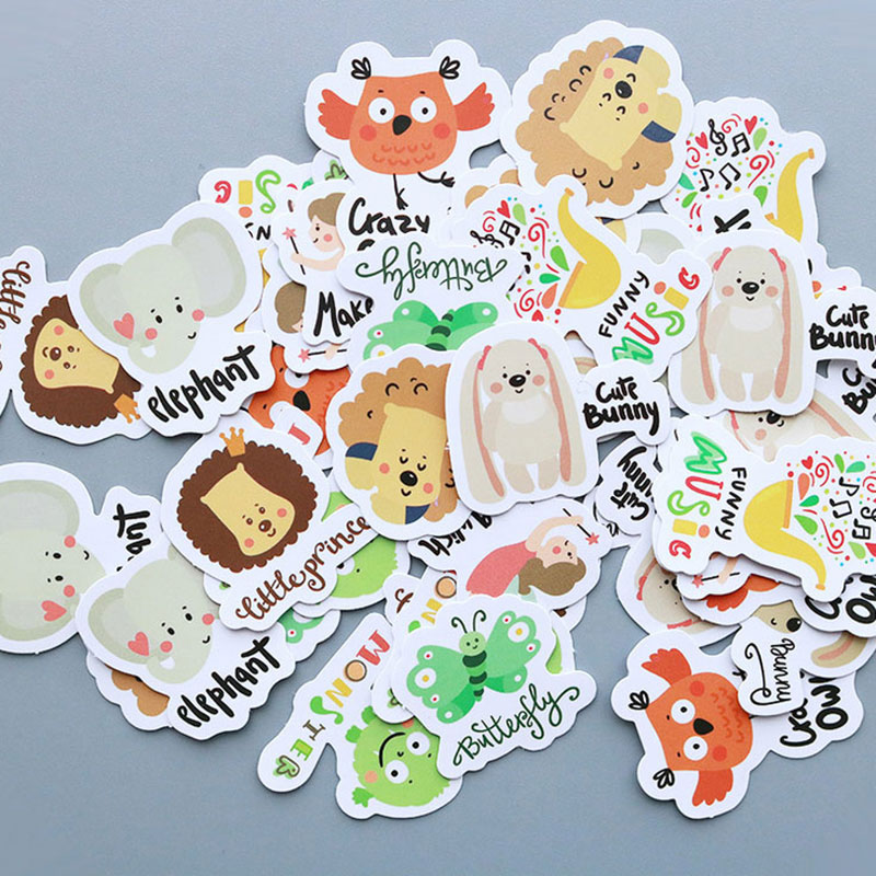 40 pcs/bag English letter animal owl paper sticker decoration diy scrapbooking Gift bag sticker childrens favorite stationery