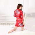 Women Nightgown Robe Set Three Quarter Round Neck Brand Clothing Sleepwear Set Summer Bathrobe