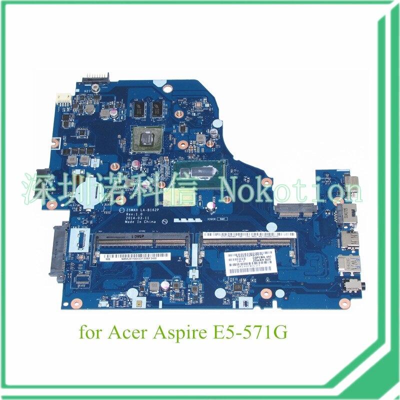 Z5WAH LA-B162P REV 1.0 NBMLB11004 NB.MLB11.004 for acer aspire E5-571G Motherboard I5-4210U+NVIDIA 820M