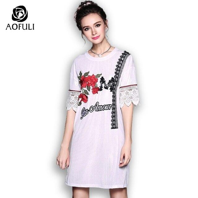 3967e3739efc AOFULI Silver Silky Dress Summer Plus Size Loose Casual Dress Flowers  Embroidery Short Sleeve Sundress S- Xxxl 4xl 5xl 5257