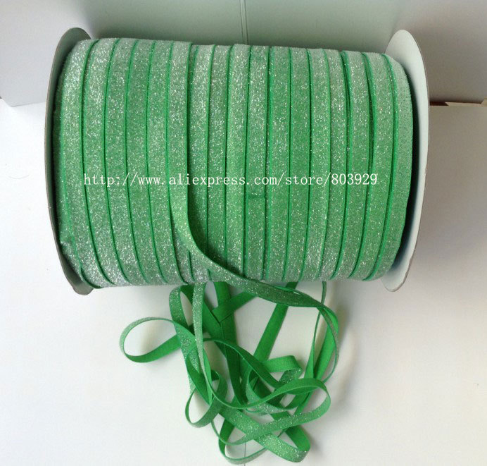 50yards lot Non stretch 1 5 Frosted Emerald Glitter Ribbon