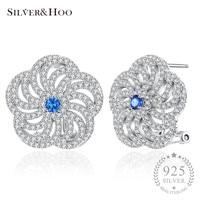 SILVERHOO Flower Design with Shiny Austrian Cubic Zirconia 925 Sterling Silver Stud Earrings Jewelry for Women Blue Crystal