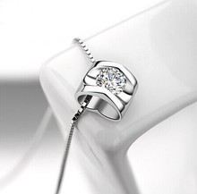 цена на Long design crystal necklace female jewelry chain female 925 pure silver pendants fashion hearts and arrows zircon