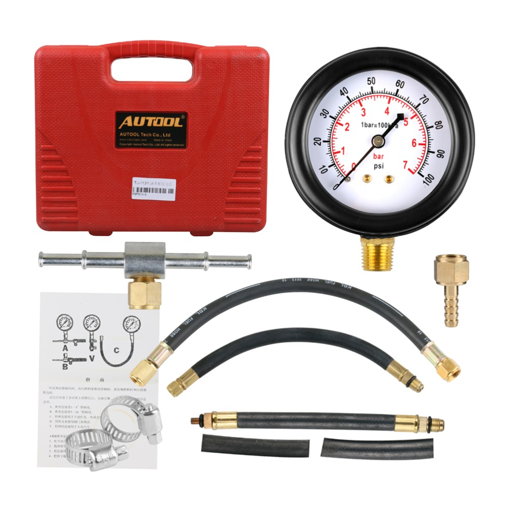 TU-113 Fuel Injection Pump Injector Tester Pressure Gauge Test 0-100psi Gasoline Car Petrol Gas Engine Cylinder Compression