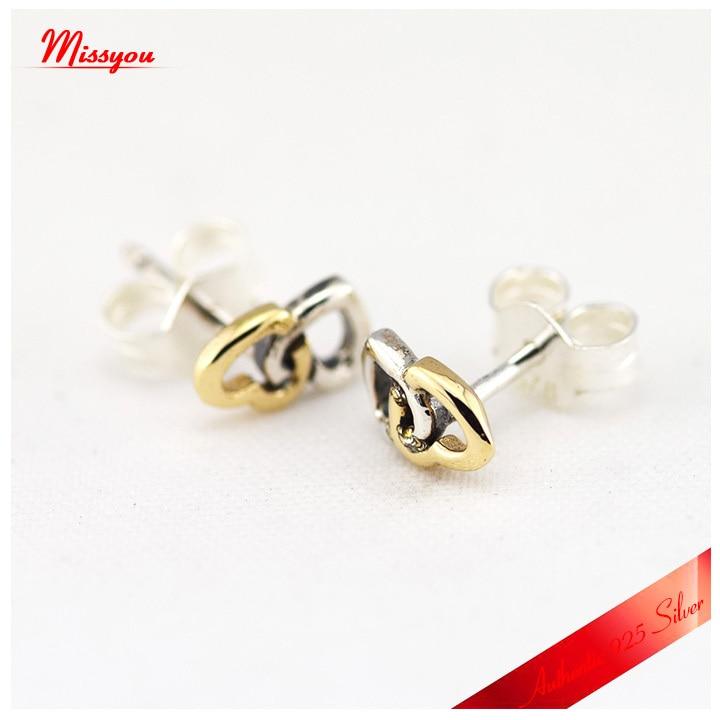 Boucles d'oreilles à cœur entrelacé avec 14 k or véritable 925 bijoux en argent Sterling livraison gratuite