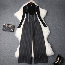 Top Quality Winter Women's Pants 2Pcs Set 2018 New Long Sleeve Knitted Sweater+Beading Striped Wide Leg Pants Suit Set Outfits