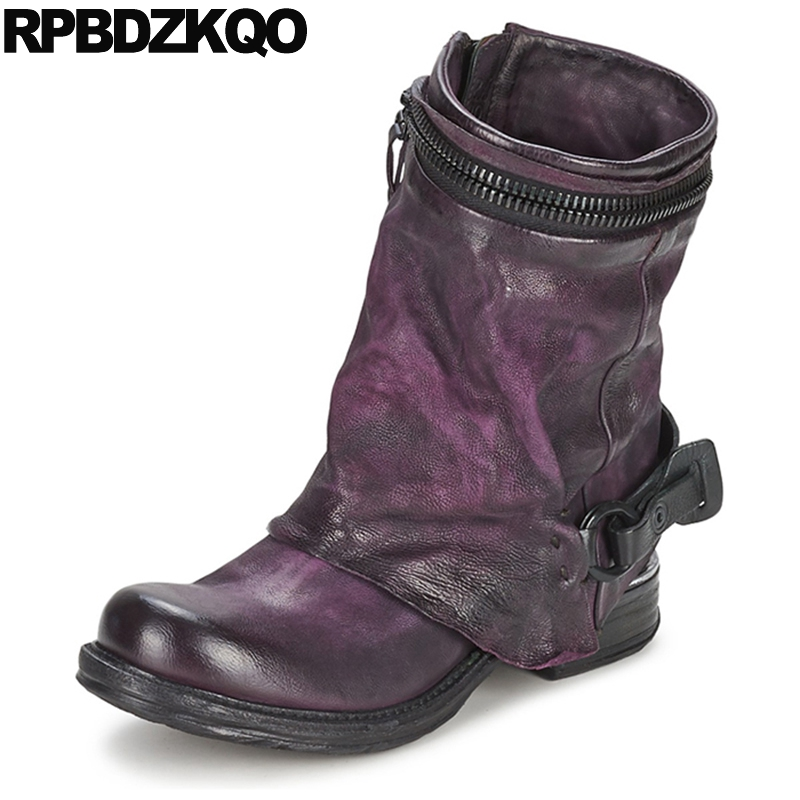 Shoes Chunky Retro Metal Women Ankle Boots 2016 Round Toe Winter Purple Flat Genuine Leather Designer Sheepskin Chinese Female 2016 designer snow boots with pearls and diamonds genuine leather pearl boots for women purple color