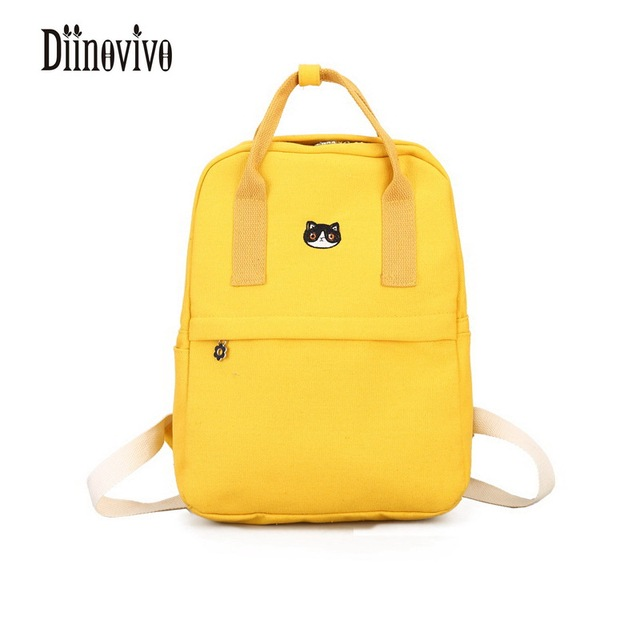Diinovivo Fresh Canvas Casual Backpacks Multifunctional Womens Shoulder Bags School For S High Capacity Mochila