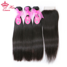 Queen Hair Products 100% Mänskligt Hår Brazilian Straight 3 Bundlar With Closure Remy Hair Extensions Naturfärg Lace Closure