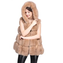Full genuine leather waistcoat fur natural real fox fur vest women's fox fur hooded tank dress autumn and winter