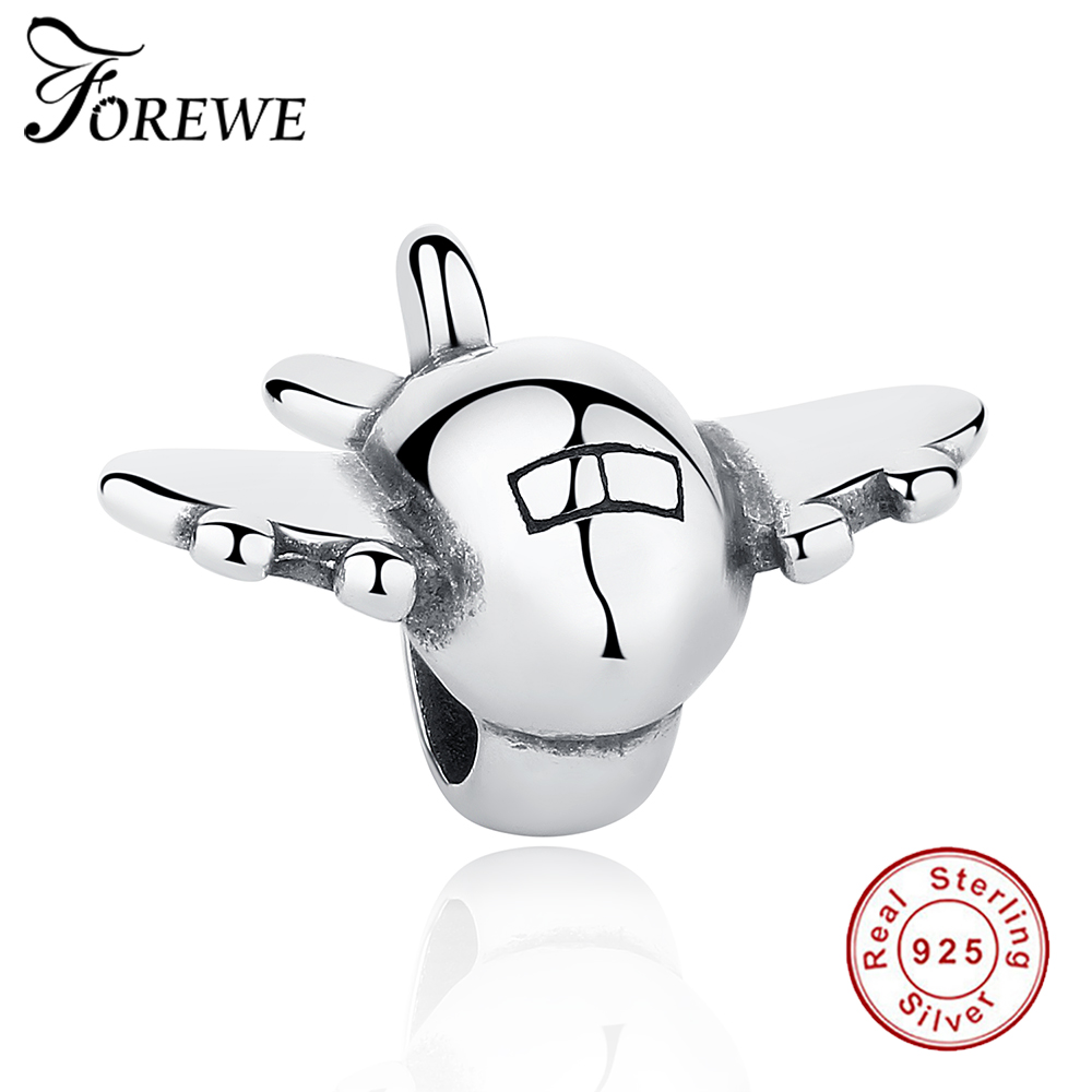 FOREWE Original European 925 Sterling Silver Airplane Beads Fit Pandora Charm Bracelet Necklace DIY Authentic Jewelry Making