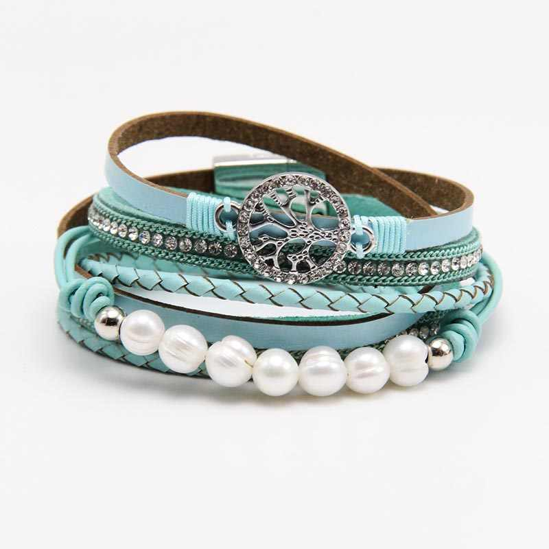 ZG Multiple Layers Punk Leather Bracelet For Men & Women Tree of Life jewelry Pearl  Rhinestone Braid Charms Bracelets femme