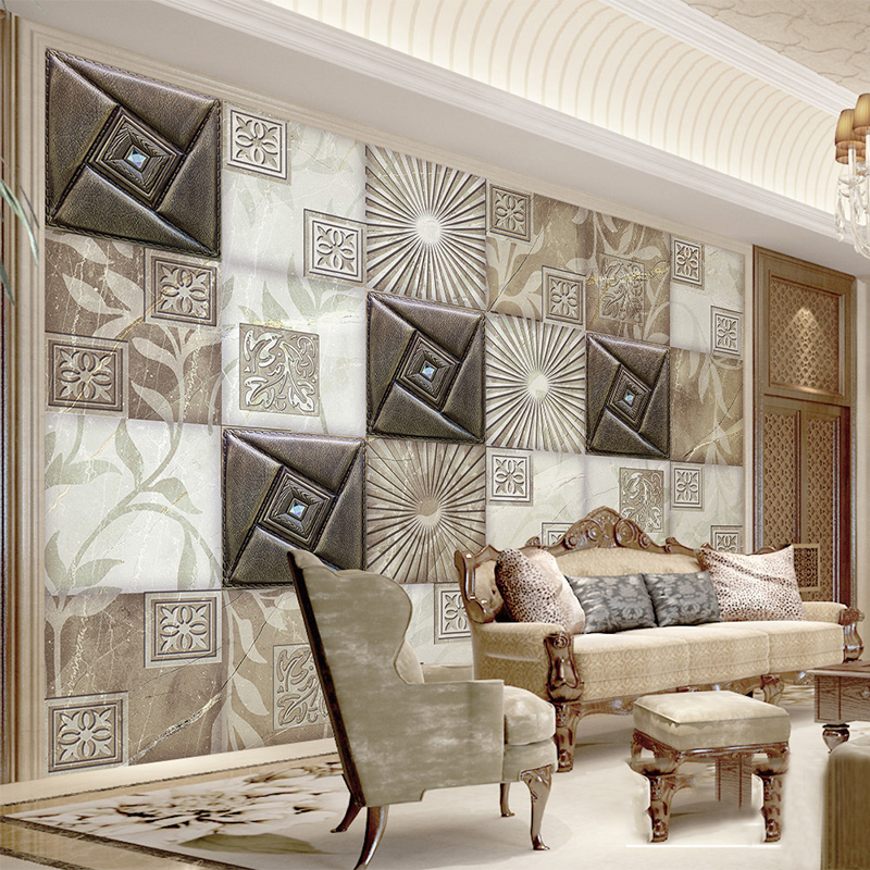 Custom Mural Wallpaper 3D Stereo Soft Roll European Style Luxury Living Room Sofa Hotel Background Modern Fashion Wall Covering