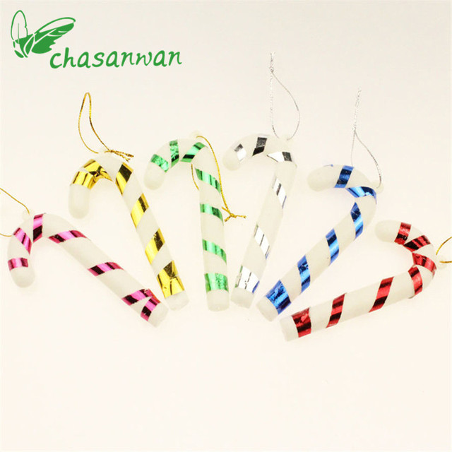 20Pcs Christmas Tree Decor Pendant Candy Color Crutch Color New Year ...