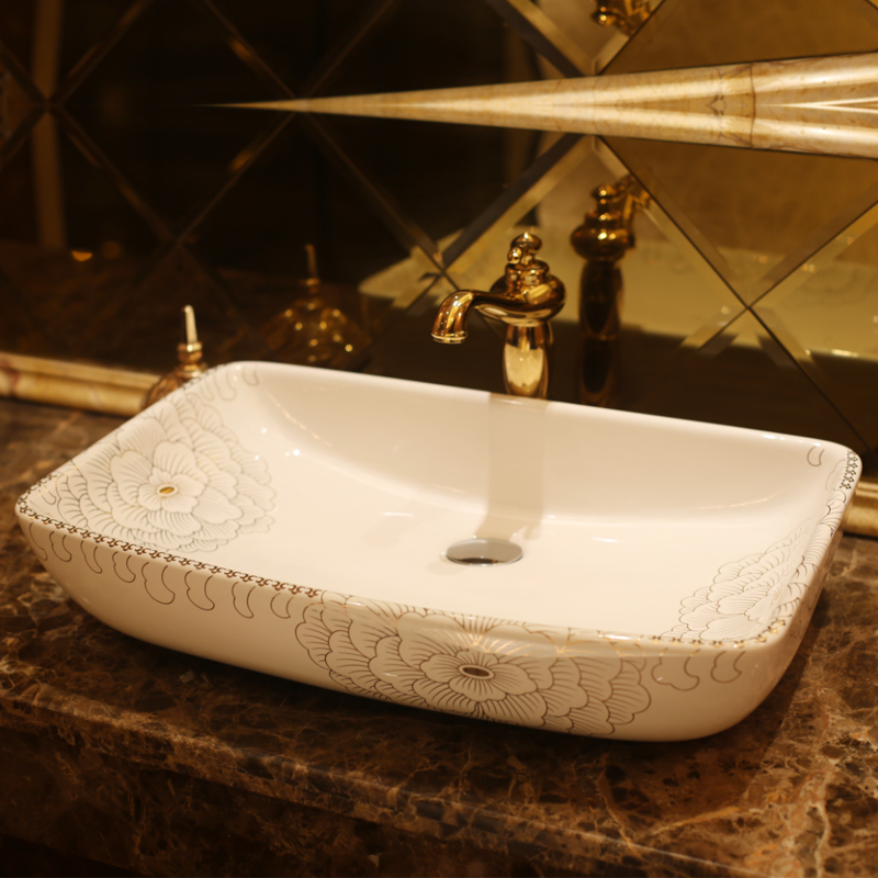 Rectangular Bathroom Ceramic Counter Top Wash Basin Cloakroom Hand Painted Vessel Sink Bathroom Sinks Sink Porcelain