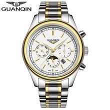 GUANQIN GQ12001 clavado Plata fase lunar blanco Delgado de negocios de ocio deportes impermeables luminosos reloj de cuarzo de acero inoxidable