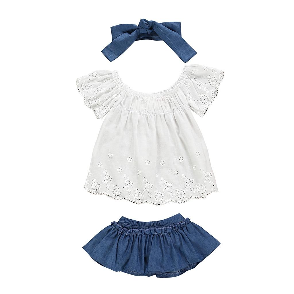 MUQGEW Baby Girl Clothes Newborn Kids Baby Girls Outfits Clothes Lace T-shirt+Denim Skirt+Headband Dropshipping Roupa Infantil