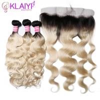 KLAIYI Hair Brazilian T1B613 Body Wave With Frontal 4 PCS Remy Hair Weave Bundles With Frontal Human Hair 3 Bundles With Frontal