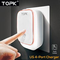 TOPK 4 Port 5V 4 4A Max 22W Phone Charger LED Lamp Auto ID USB Charger