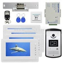 DIYSECUR Electric Huelga Lock 7 pulgadas de Color de Vídeo Puerta Teléfono Sistema 700TVL IR Cámara Keyfobs RFID Desbloqueo Remoto