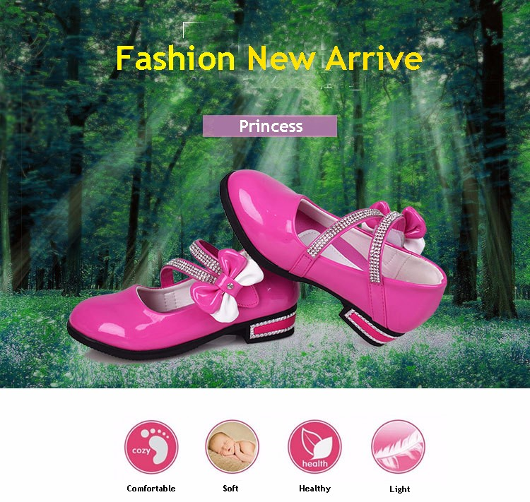 x1 girls leather shoes bow