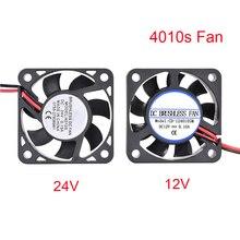 DIY Reprap 4010 Fan DC 12 V 24 V 2Pin Mini Soğutma Fırçasız 4010 s Fan 40 MM 40 x 40x10mm Küçük egzoz fanı 3D Için Yazıcı parçal...
