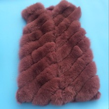 New fashion korean style real dyed fox fur ladies sexy vest