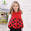 KAMIWA 2016 Fall Winter Girls Vest Cotton-padded Clothes Polka Dot Printed Short Sleeveless Fashion Casual Hooded Wadded Jackets