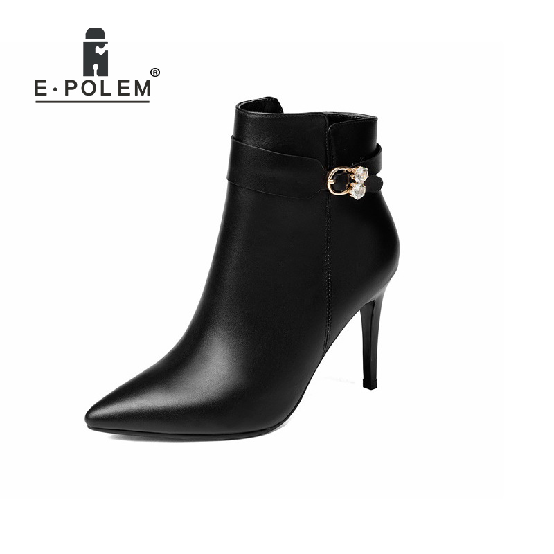 Fashion Female Boots Punk Rivet Ankle Boots for Women Genuine Leather Chelsea Boots Belt Buckle Zipper BootsFashion Female Boots Punk Rivet Ankle Boots for Women Genuine Leather Chelsea Boots Belt Buckle Zipper Boots