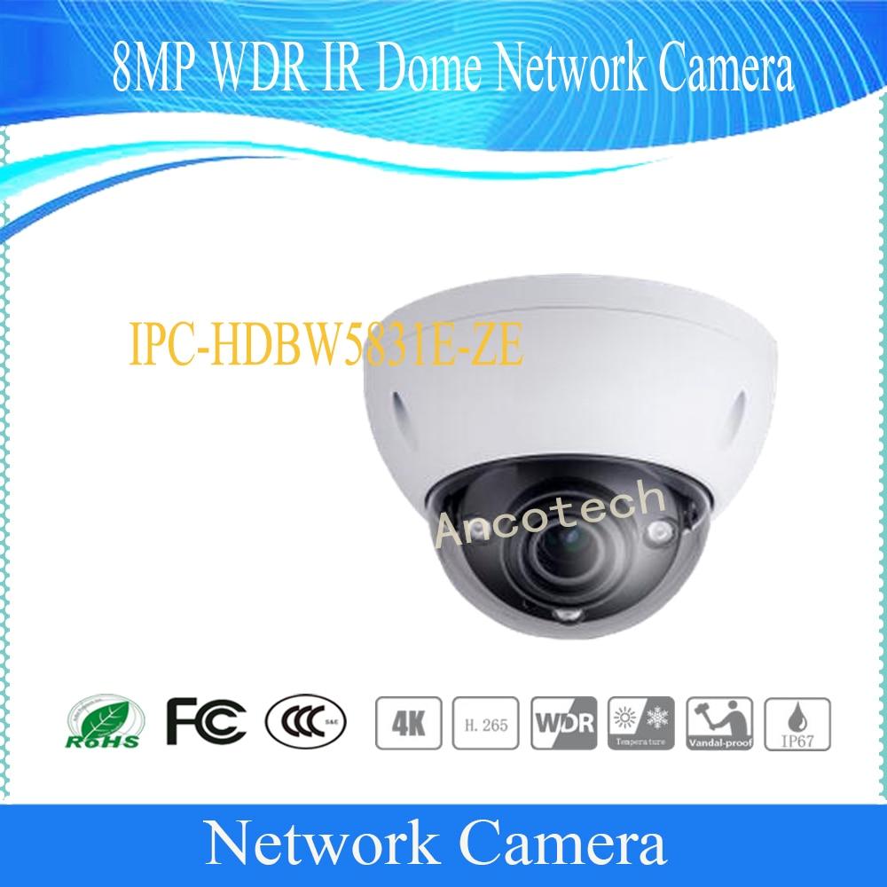 цена на Free Shipping DAHUA Security IP Camera 8MP WDR IR Dome Network Camera with POE+ IP67 IK10 Without Logo IPC-HDBW5831E-ZE