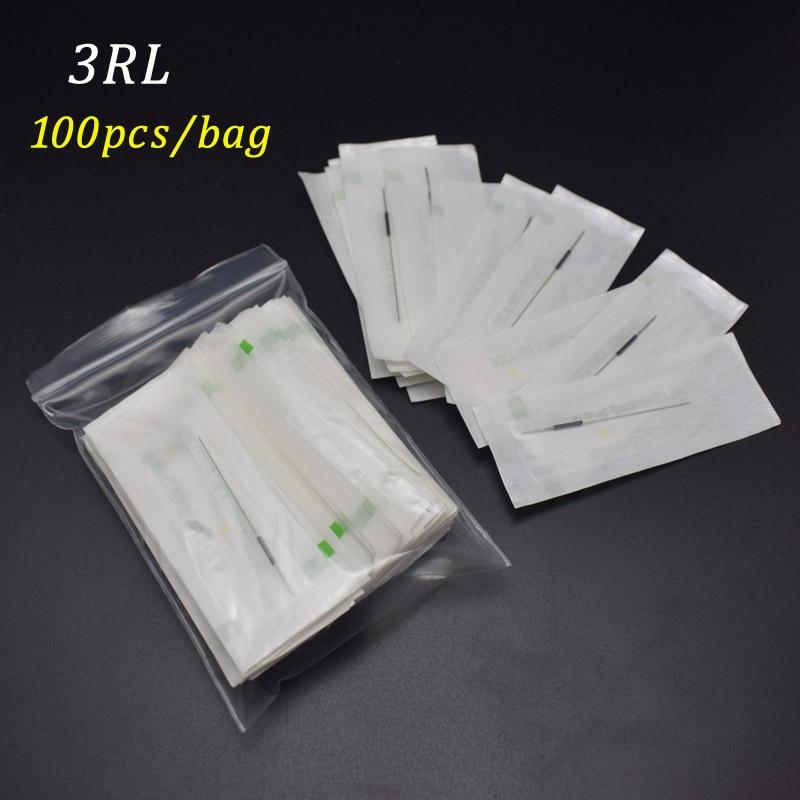 3R-Maquillaje Agujas de cejas esterilizadas 100pcs Agujas de - Tatuaje y arte corporal