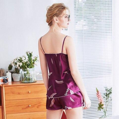 sleepwear Women Pajama Set v-neck Sexy Female Emulation Silk Nighty sleep & lounge nightgowns for women sexy nightwear Suit Islamabad