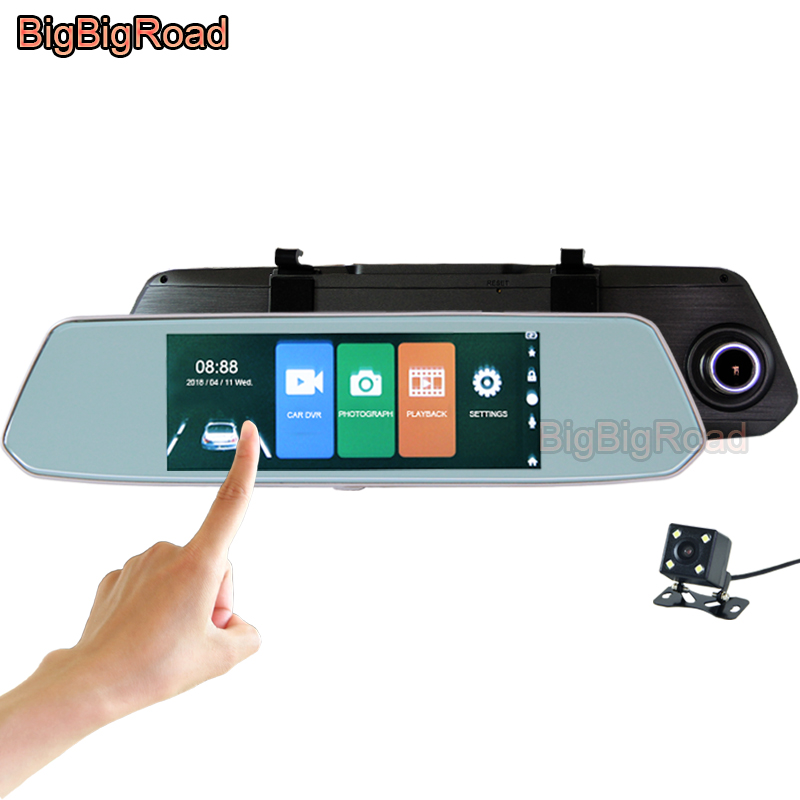 цена на BigBigRoad For citroen c1 c2 c3 c5 c6 c4 c4l grand picasso ds3 ds4 ds5 Car DVR Dash Camera 7 Inch Touch Screen RearView Mirror
