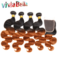 7A Ombre Brazilian Body Wave With Closure T1B/30 Tissage Bresilienne Avec Closure 4 Bundles Ombre Brazilian Hair With Closure