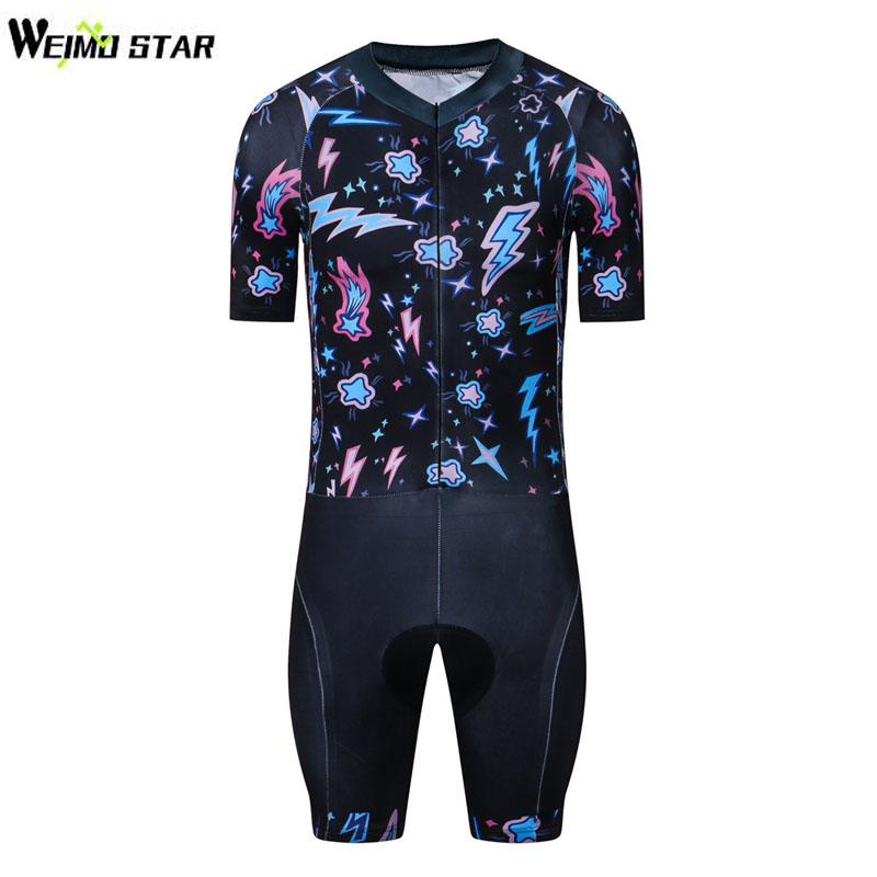 WEIMOSTAR Triathlon Suit Men Short Sleeve Cycling Jersey Set Breathable Ropa Ciclismo Bike Bicycle One Piece Compressed Clothing nuckily ma008 mb008 men short sleeve bicycle cycling suit