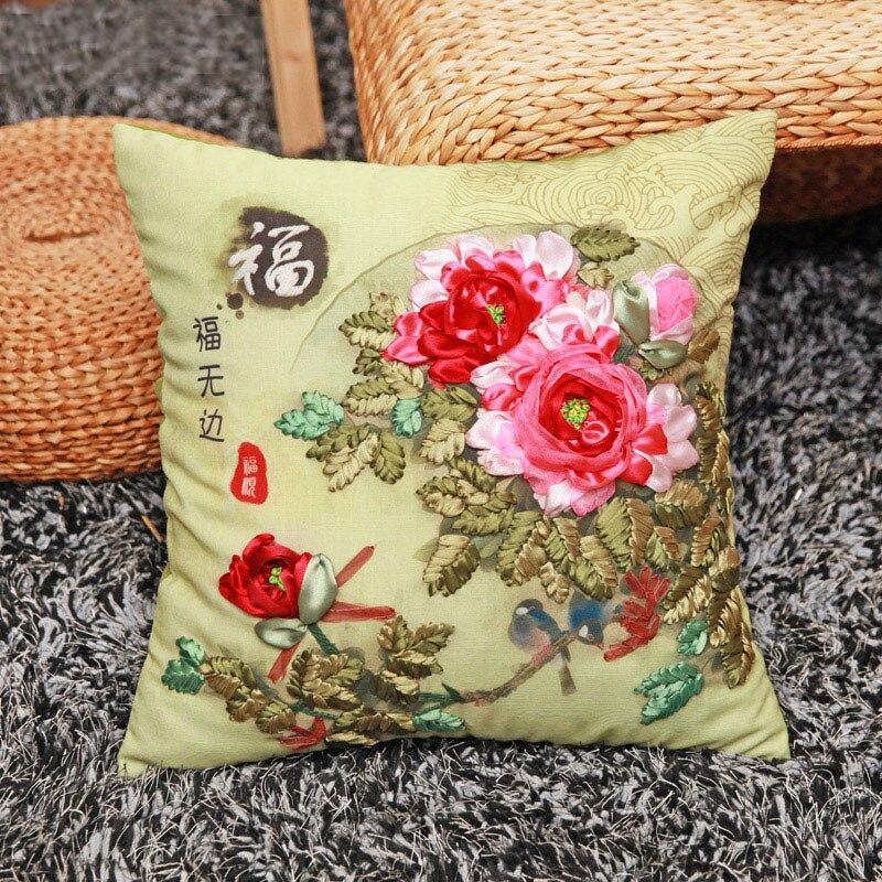 Rote Pfingstrose Blumen Band Stickerei Kit Toolkit Kissenbezüge Kissenbezug Mode Hause Geschenke Unfinished DIY Handgemachten