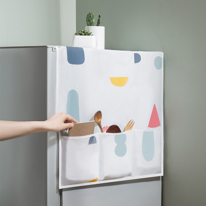 Waterproof PEVA Print Refrigerator Cover Dust Cover With Storage Bag Kitchen Supplies U1932