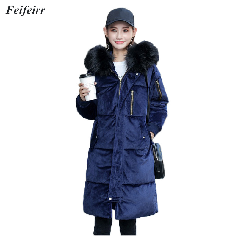 Winter 2018 Cotton Jacket Women 2018 Korean version slim High Quality Warm thick gold velvet Down cotton coat jacket   parkas