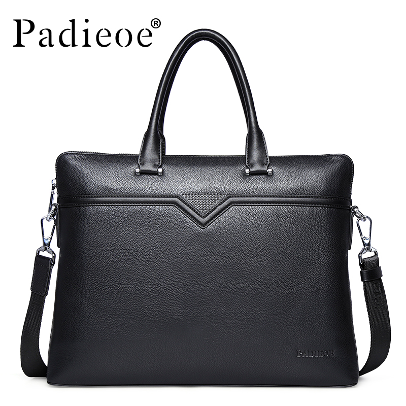 Padieoe Business Handbag Men Shoulder Bags Brand Briefcases Genuine Leather Tote Laptop Bag Travel Casual Men's Messenger Bag