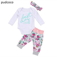 3pcs Cute Baby Outfits Clothes Set Newborn Baby Boys Girls Cotton Long Sleeve Letters Rompers Floral