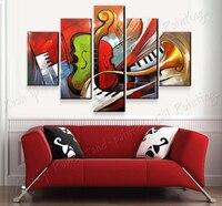 100% Handgeschilderde Abstracte Muziek Schilderijen Muur 5 Panel Canvas decor Schilderijen Voor Muur