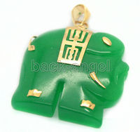 Free shipping Wholesale SHIPPING HH##HH##> Fashion jewelry dark green Elephant Pendant Necklace 17''