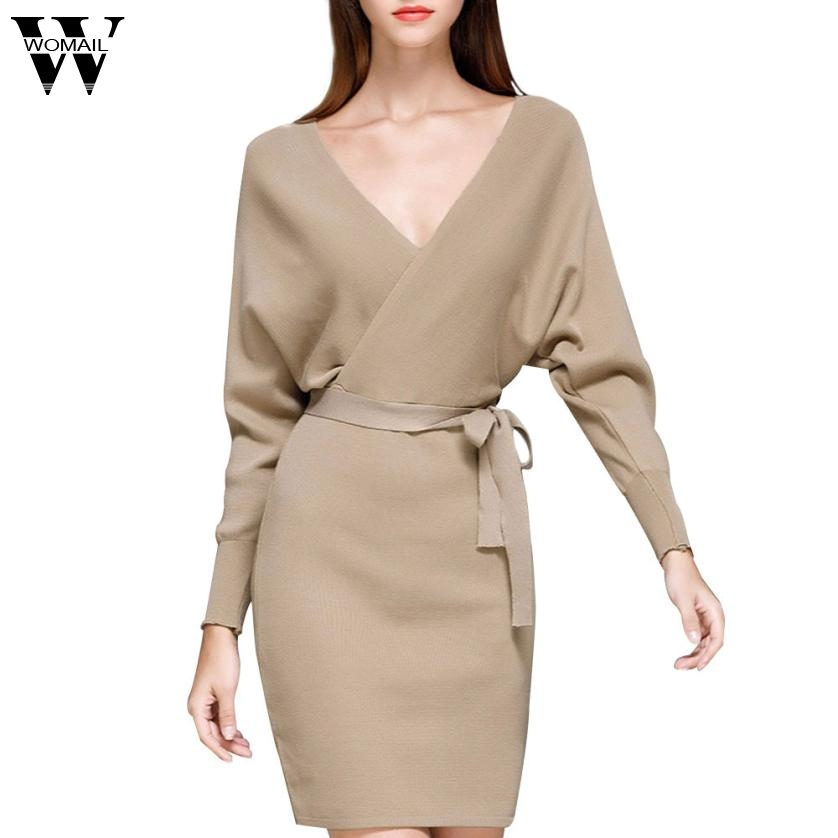 Womail 2017 Fashion Women Autumn Winter Mini Dresses Solid V-Neck Long Batwing Sleeve Elegant Knitted Sweater Dress With Belt 19