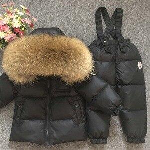 Image 2 - 2018 Kinderen Skipak Russische Winter Baby Boy Pak Eendendons Kinderen Jas voor Meisje Jas Overalls Warme Jas Kid meisje Set