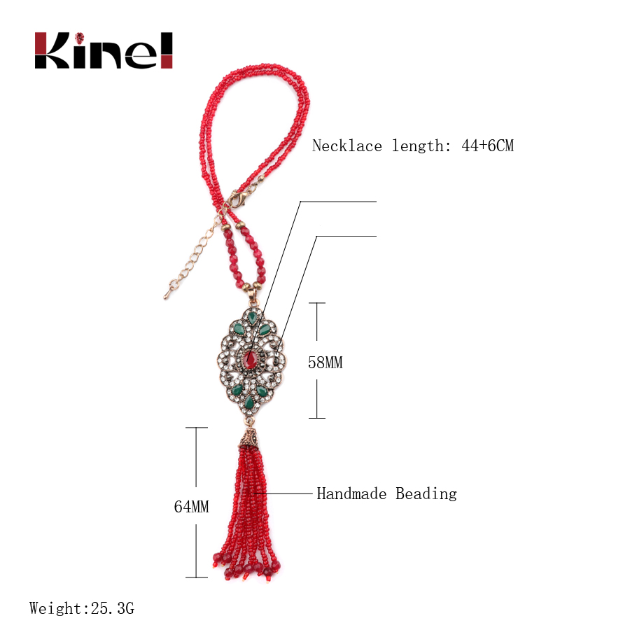 Kinel Wholesale Crystal Beads Tassel Necklace 3 Colors Vintage Jewelry 2018 New Arrivals Gifts For Women Chains Choker Jewelry in Pendant Necklaces from Jewelry Accessories